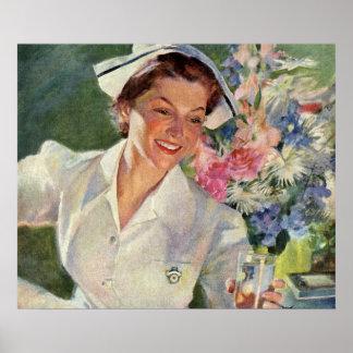 Vintage Medicine, Happy Nurse in Uniform Poster