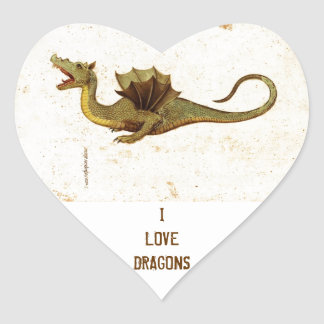 Vintage Medieval Dragon Design Heart Sticker