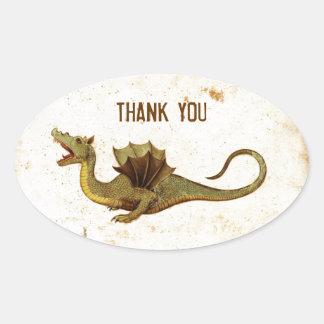 Vintage Medieval Dragon Design Oval Sticker