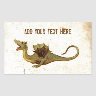 Vintage Medieval Dragon Design Rectangular Sticker
