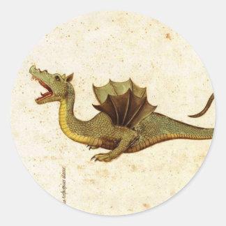 Vintage Medieval Dragon Design Round Sticker