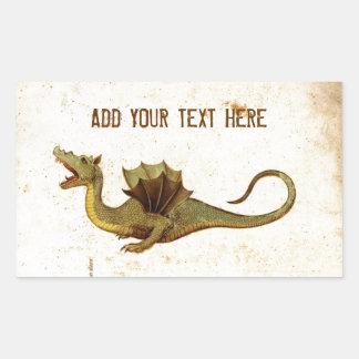 Vintage Medieval Dragon Design Rectangle Sticker