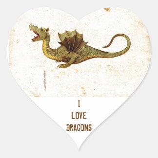 Vintage Medieval Dragon Design Heart Stickers