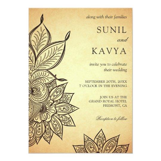 Vintage Mehendi Henna Indian Wedding Invitation