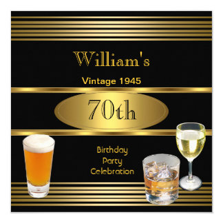 Vintage Mens 70th Birthday Party Gold Beer 1945 13 Cm X 13 Cm Square Invitation Card