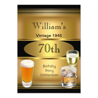 Vintage Mens 70th Birthday Party Gold Beer 1945 13 Cm X 18 Cm Invitation Card