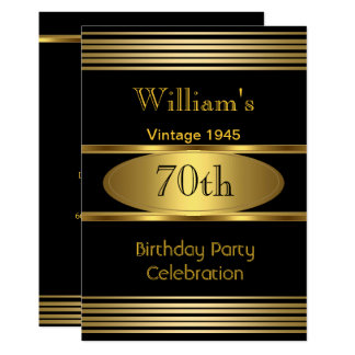 Vintage Mens 70th Birthday Party Gold Black 1945 Card