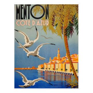Vintage Menton CoTe D'azur Postcard