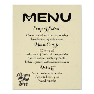 Vintage Menu Tan And Black Wedding Love Typography