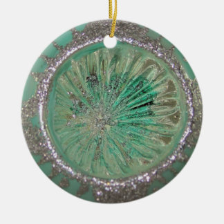 Vintage Mercury Glass Christmas Teal Ice Indent Christmas Ornament