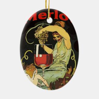 Vintage Merlot Wine Ceramic Oval Decoration