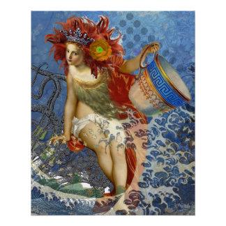 Vintage Mermaid Aquarius Gothic Whimsical Woman Poster