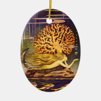 Vintage Mermaid Ceramic Oval Decoration