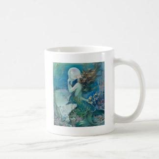 Vintage Mermaid Holding Pearl Coffee Mug