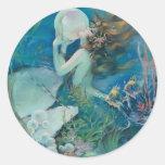 Vintage Mermaid Holding Pearl Round Sticker