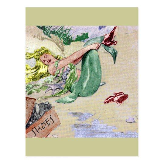 Vintage Mermaid in Colour Postcard