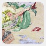 Vintage Mermaid in Colour Square Sticker