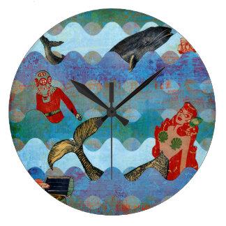 vintage mermaid large clock