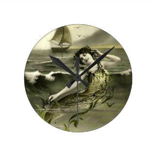 Vintage mermaid picture round clock