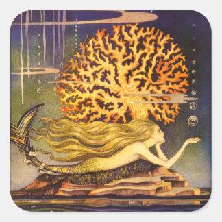 Vintage Mermaid Square Sticker