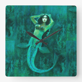 Vintage Mermaid Square Wall Clock