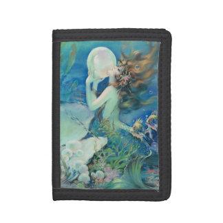 Vintage Mermaid w Pearl Nautical Ocean Nautical Trifold Wallet