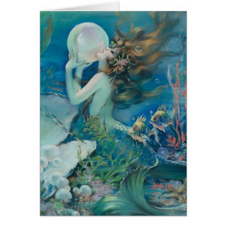 Vintage Mermaid with Pearl Note Card