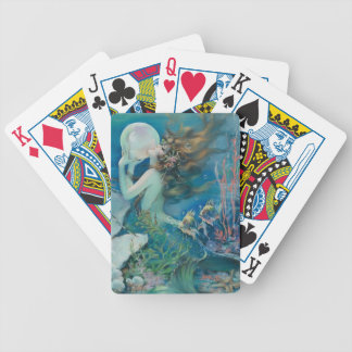 Vintage Mermaid with Pearl Playing Cards