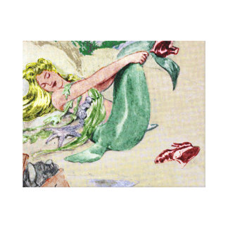 Vintage Mermaid Wrapped Canvas Wall Art Canvas Prints