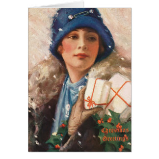 "VINTAGE ""MERRIE SHOPPING"" FASHION CARD"