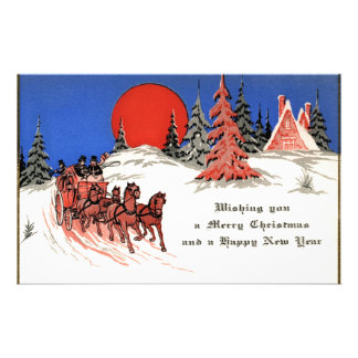 Vintage Merry Christmas and Happy New Year Stationery