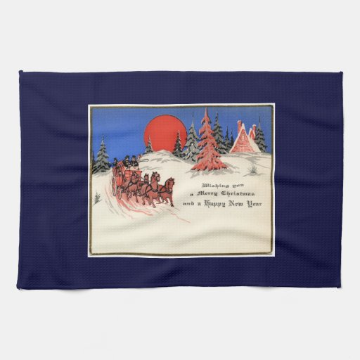 Vintage Merry Christmas and Happy New Year Towel