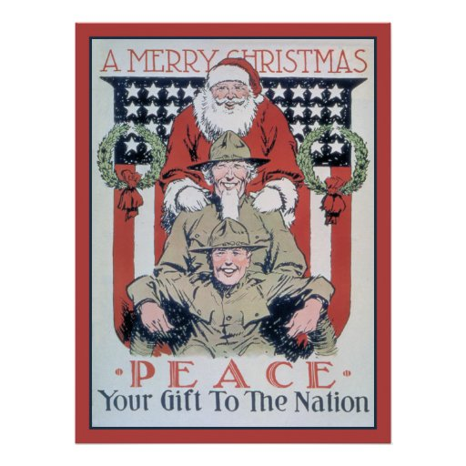 vintage Merry Christmas and peace Poster