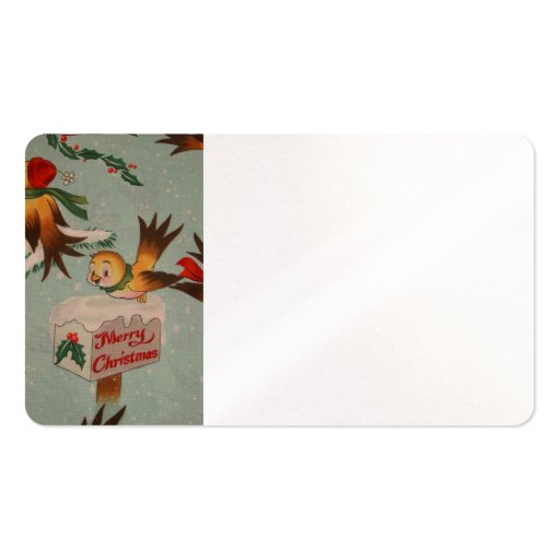 Vintage Merry Christmas Birds Business Cards