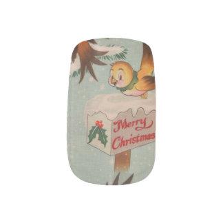 Vintage Merry Christmas Birds Fingernail Transfer