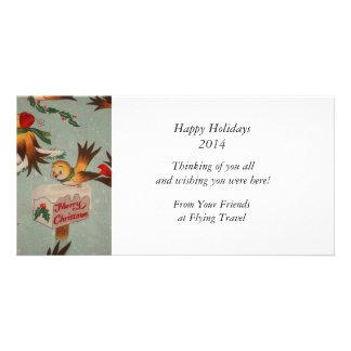 Vintage Merry Christmas Birds Customised Photo Card