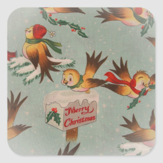 Vintage Merry Christmas Birds Square Sticker