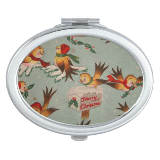 Vintage Merry Christmas Birds Travel Mirrors