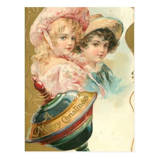 Vintage Merry Christmas Boy and Girl Postcard
