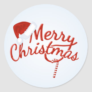 Vintage Merry Christmas Candy Round Sticker