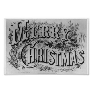"""Vintage """"Merry Christmas"""" circa 1876 Print"""