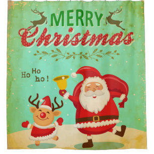 Vintage Merry Christmas Dancing Santa And Reindeer Shower Curtain