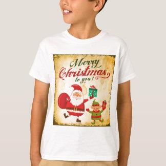 Vintage Merry Christmas Daning Santa and Elf T-Shirt