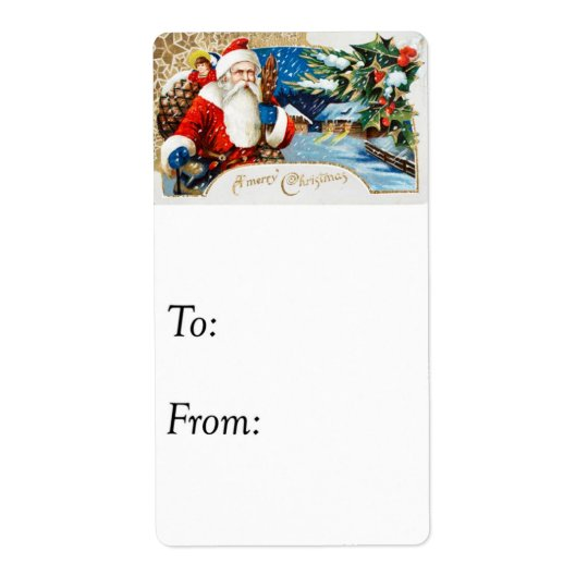 Vintage Merry Christmas From Santa Gift Tag