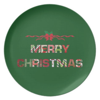Vintage Merry-Christmas Holiday Dinner Plate