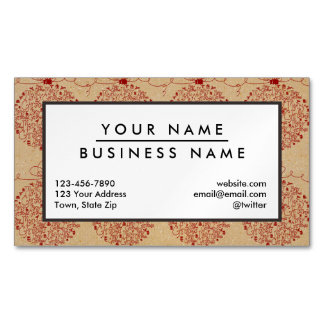 Vintage Merry Christmas Ornaments Pattern Magnetic Business Cards