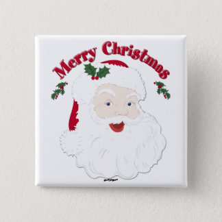 Vintage Merry Christmas Santa 15 Cm Square Badge