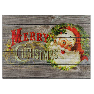 Vintage Merry Christmas & Santa on Rustic old Wood Cutting Board