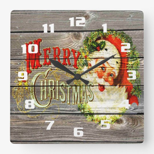 Vintage Merry Christmas & Santa on Rustic old