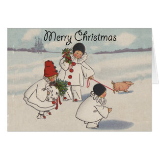 Vintage Merry Christmas Snow Children Card
